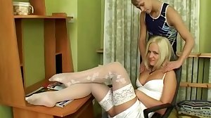 Blond wearing white nylons during sex
